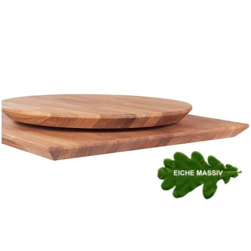 Tischplatte  Eiche massiv geölt mit schräger Kante