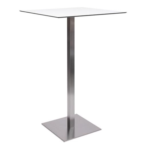 Stehtisch MANILA Edelstahl mit HPL-Kompakt-Tischplatte 10 mm, 59 x 59 cm weiß