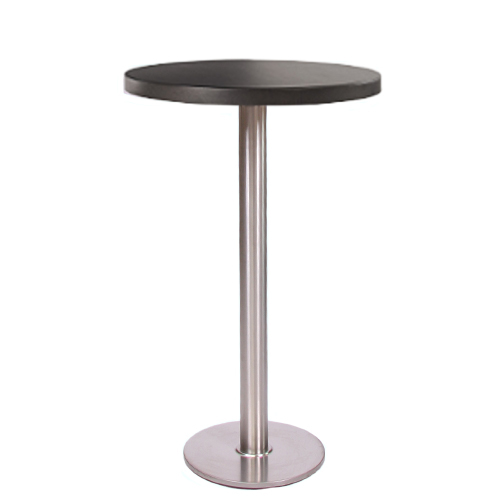 Stehtisch ARICA CR mit Dekor-Tischplatte MDF 30 mm stark, Ø 70 cm, schwarz (TPF30-D70-sw)