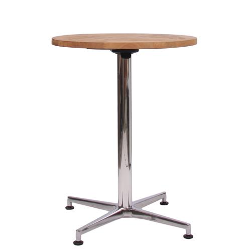 Tisch VISION Gestell Aluminium glänzend mit einer Teakholz-Tischplatte 25 mm, Ø 60 cm (TPTH-25-D60)