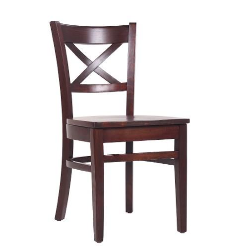Restaurantstuhl Bistrostuhl mit Kreuz in der Rückenlehne und Holzsitz