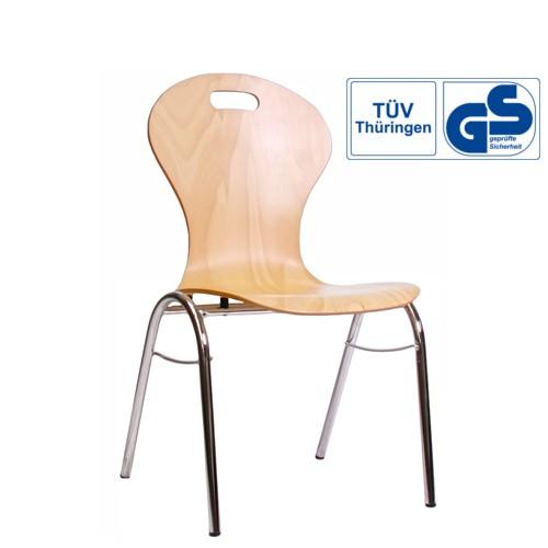 Holzschalenstuhl / Stapelstuhl COMBISIT B10G mit Griffloch, ohne Sitzpolster