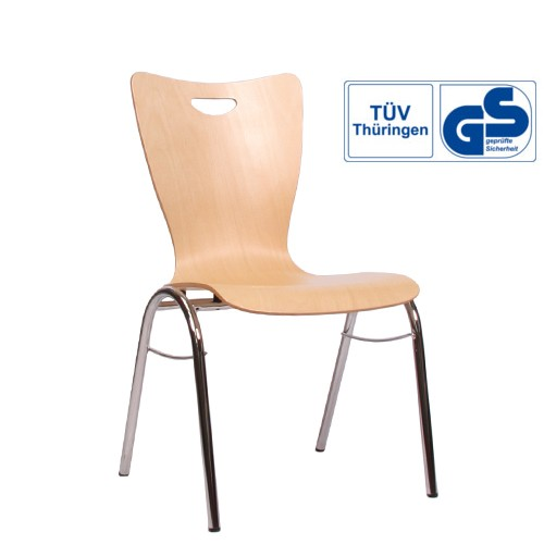 Holzschalenstuhl / Stapelstuhl COMBISIT B30G mit Griffloch, ohne Sitzpolster