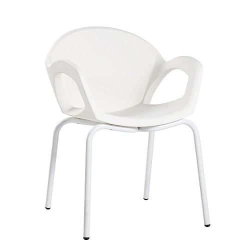 Sessel Armlehnstuhl robuste Kunststoffschale weiß