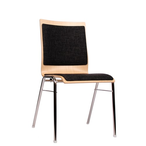 Holzschalenstuhl / Stapelstuhl COMBISIT A40 mit Sitz- und Rückenpolster, Uni-Stoff dunkelgrau