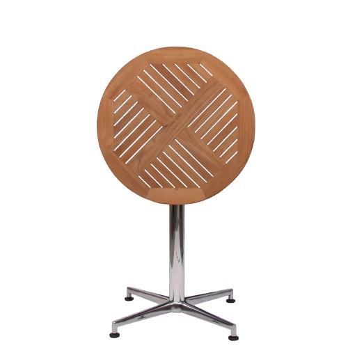 Tisch VISION SIDE Gestell Aluminium glänzend mit Teakholz-Tischplatte