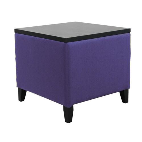 Beistelltisch MICA T - Tischplatte & Holzfüße in schwarz, Wollstoff taubenblau