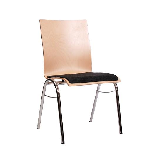 Holzschalenstuhl / Stapelstuhl COMBISIT B40 mit Sitzpolster, Uni-Stoff dunkelgrau