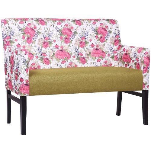 2-Sitzer Polsterbank KATE , Stoff mit Blumen-Muster FLORA0143 kombiniert mit Uni-Stoff BA48 olive