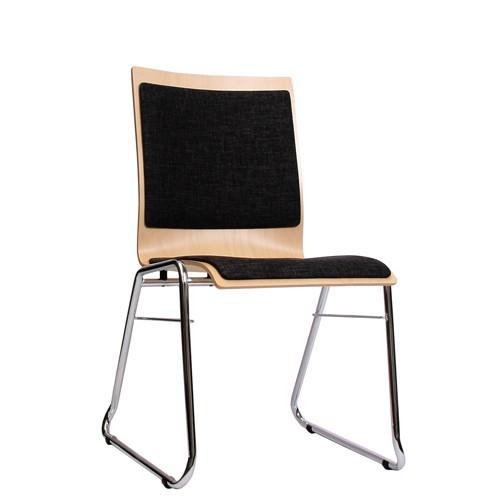 Holzschalenstuhl / Stapelstuhl COMBISIT C40 mit Sitz- und Rückenpolster, Uni-Stoff dunkelgrau