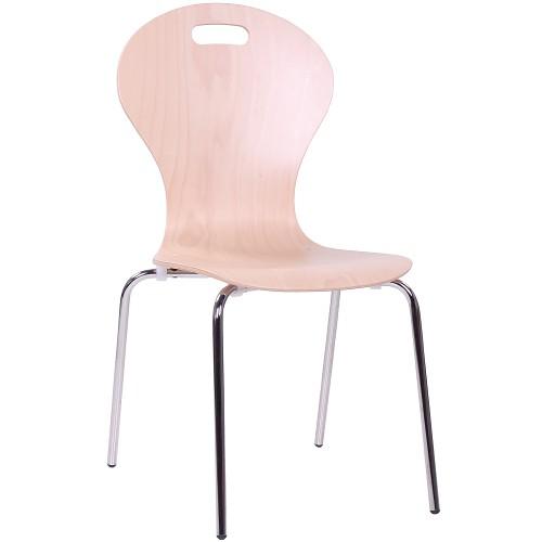 Holzschalenstuhl Seminarstuhl COMBISIT F10G mit einem hochglanzverchromten Gestell