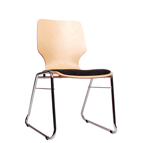 Holzschalenstuhl / Stapelstuhl COMBISIT C20 mit Sitzpolster, Uni-Stoff dunkelgrau