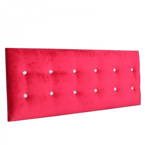 Wandpolster mit Strass Knöpfen bezogen mit Uni-Stoff mit Samt-Effekt rubinrot BELTE43