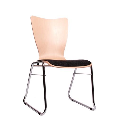 Holzschalenstuhl / Stapelstuhl COMBISIT C30 mit Sitzpolster, Uni-Stoff dunkelgrau