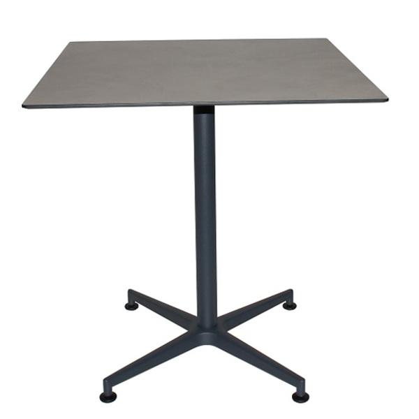 Tisch VISION Gestell grau mit einer HPL-Kompakt-Tischplatte - Industrial-Design Betonoptik grau (Cement), 69 x 69 cm