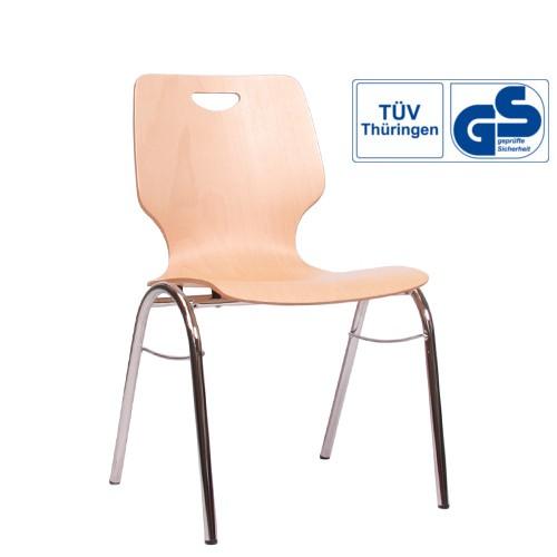 Holzschalenstuhl / Stapelstuhl COMBISIT B20G mit Griffloch, ohne Sitzpolster