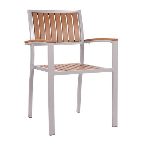 Stuhl mit Armlehnen TIMOR natur - stapelbar