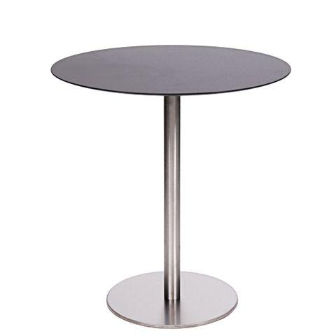 Tisch MARIANO mit einer HPL-Kompakt-Tischplatte 10 mm, Ø 69 cm schwarz (TPHPL10-D69-sw)
