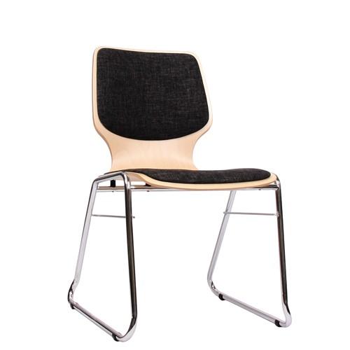 Holzschalenstuhl / Stapelstuhl COMBISIT C20 mit Sitz- und Rückenpolster, Uni-Stoff dunkelgrau