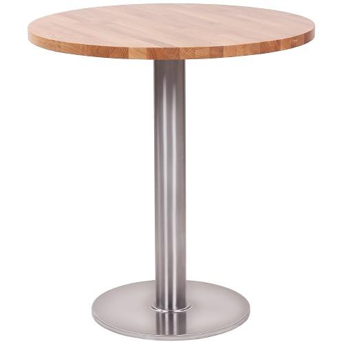 Bistrotisch ARICA IX mit Keilgezinkte Tischplatte aus massiver, europäischer Eiche mit gerader Kante