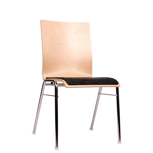 Holzschalenstuhl / Stapelstuhl COMBISIT A40 mit Sitzpolster, Uni-Stoff dunkelgrau