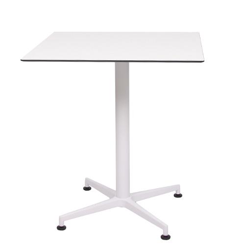Tisch VISION Gestell weiß mit einer HPL-Kompakt-Tischplatte weiß mit schwarzem Rand, 69 x 69 cm (TPHPL10-6969-we)