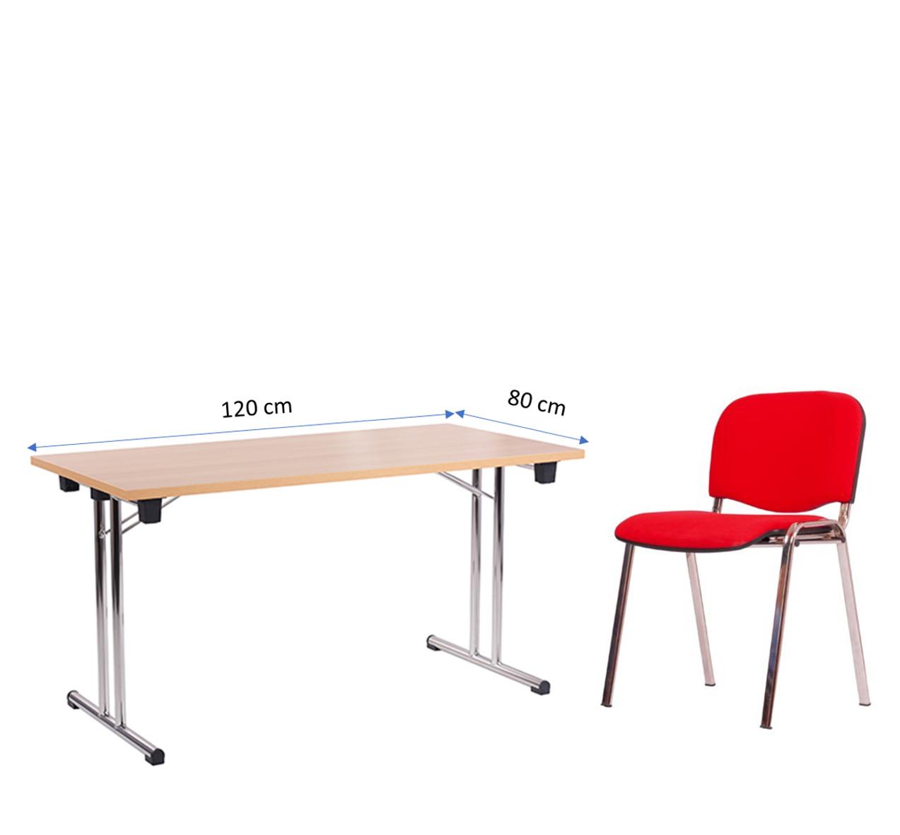 Klapptisch FT 128-25 (120 x 80 cm) mit Stapelstuhl ISO, Gestell verchromt, Bezugsstoff rot