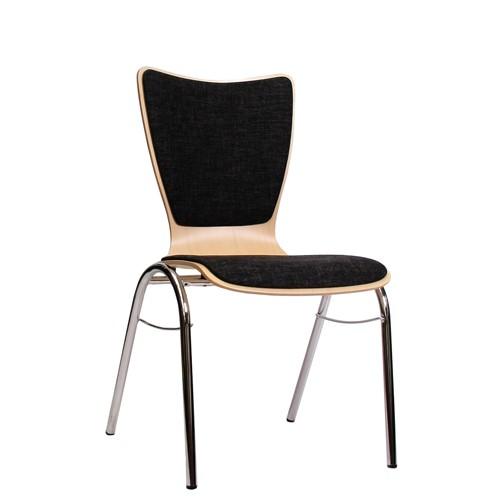 Holzschalenstuhl / Stapelstuhl COMBISIT B30 mit Sitz- und Rückenpolster, Uni-Stoff dunkelgrau