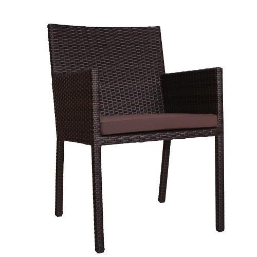 Outdoor Sessel mit Armlehnen LORENZO incl. Kissen in dunkelbraun