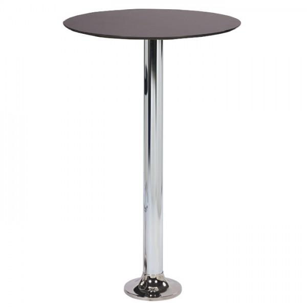 Stehtisch NAVEX CR mit HPL-Kompakt-Tischplatte in schwarz Ø 69 cm