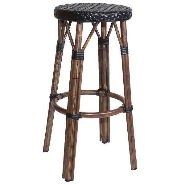 Outdoor Barhocker BAMBU mit Gestell aus Aluminium in Bambusoptik und schwarzem Sitz