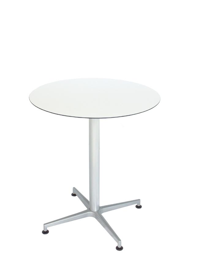 Tisch VISION Gestell weiß mit einer HPL-Kompakt-Tischplatte weiß mit schwarzem Rand, Ø 69 cm (TPHPL10-D69-we)