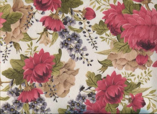 Stoff mit Blumen-Muster FLORA0143 altrosa