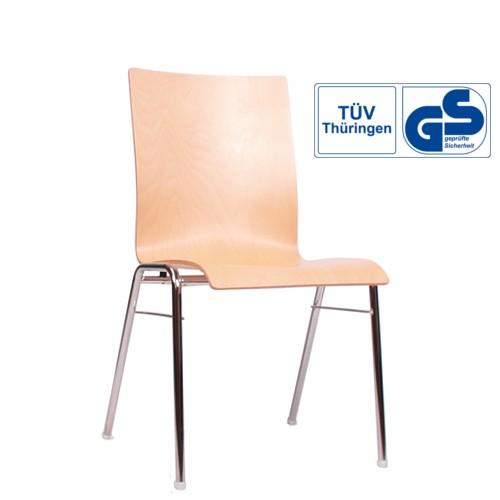 Holzschalenstuhl / Stapelstuhl COMBISIT A40 ohne Sitz- und Rückenpolster