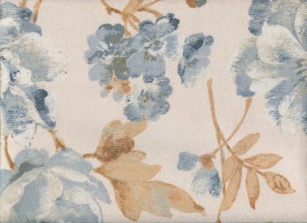 Meterware Möbelstoff mit Blumen-Muster FLORA0107 pastellblau