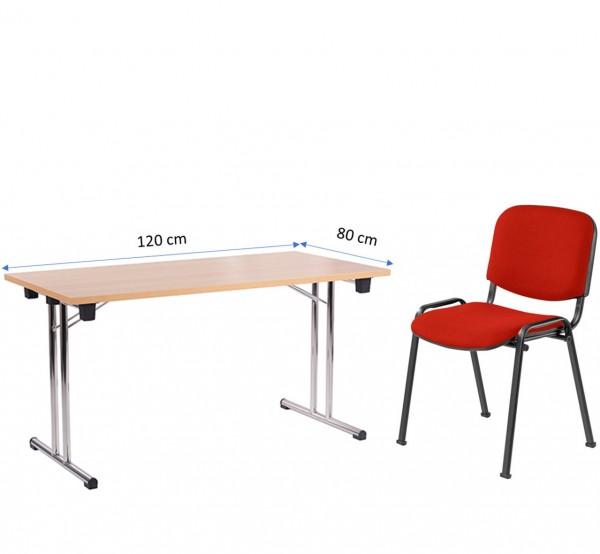 Möbel für Homeoffice | Klapptisch FT 128 (120 x 80 cm) und Stapelstuhl ISO in rot