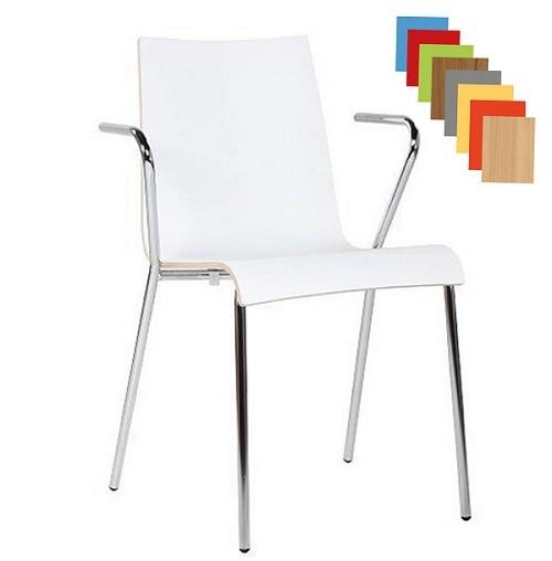 moderner Konferenzstuhl mit Armlehne weiß HPL
