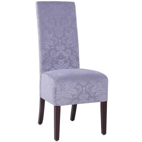 hochwertiger Restaurantstuhl Hochlehnstuhl ALBETTA, Bezug: Stoff mit floralen Mustern steingrau BD26