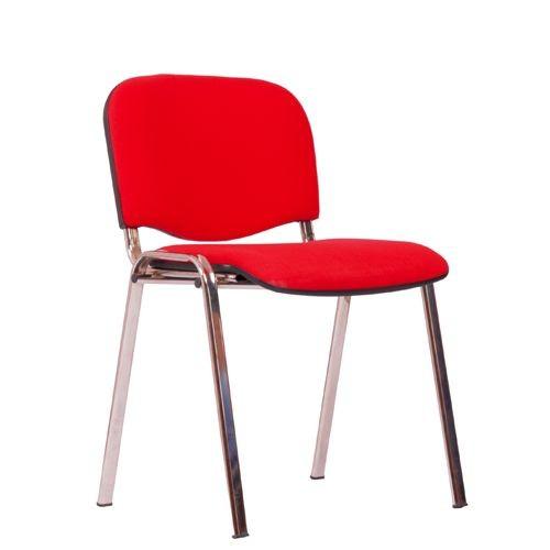 Stapelstuhl ISO verchromt, Bezug rot
