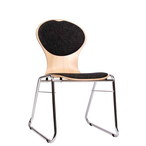 Holzschalenstuhl / Stapelstuhl COMBISIT C10 mit Sitz- und Rückenpolster, Uni-Stoff dunkelgrau