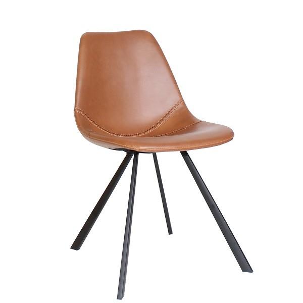 Designer Stuhl | Schalenstuhl | Bistrostuhl SVEN mit einer formschönen Sitzschale aus robustem PU-Kunstleder in cognac-braun