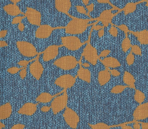 Stoff mit Blatt-Motiven AQC2164 blau-bronze