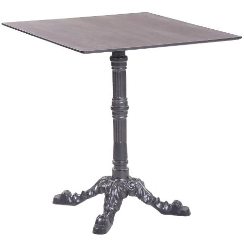 Tisch LEON 4 mit einer HPL-Kompakt-Tischplatte - Industrial-Design Corten, 69 x 69 cm (TPHPL10ID)