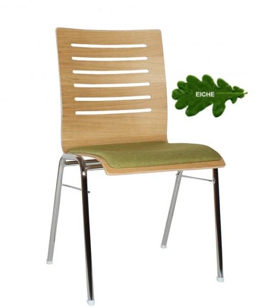 Holzschalenstuhl COMBISIT A43E Eiche mit gepolstertem Sitz