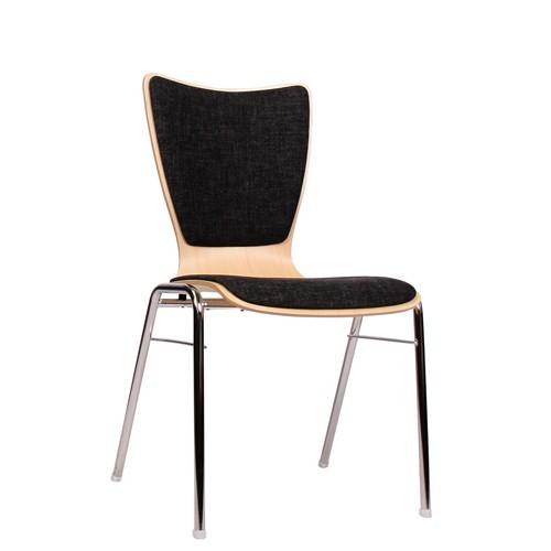 Holzschalenstuhl / Stapelstuhl COMBISIT A30 mit Sitz- und Rückenpolster, Uni-Stoff dunkelgrau