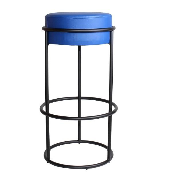 Metall Barhocker ARINO Sitzpolster blau