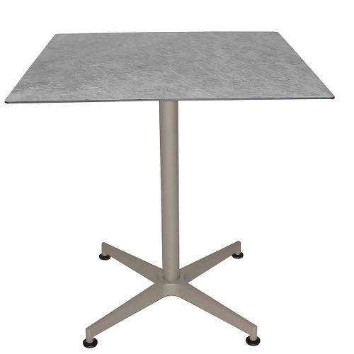Tisch VISION Gestell taupe mit einer HPL-Kompakt-Tischplatte - Marmot hell, 69 x 69 cm