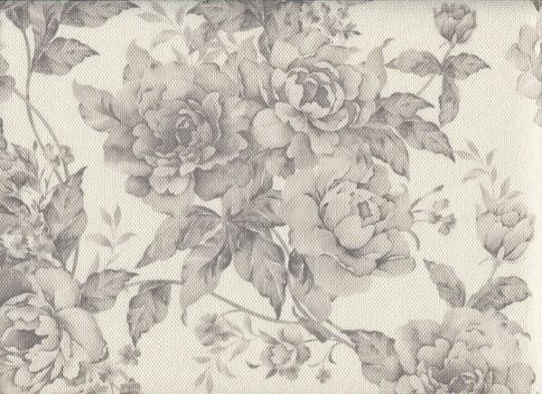 Stoff mit Blumen-Muster FLORA0106 achatgrau